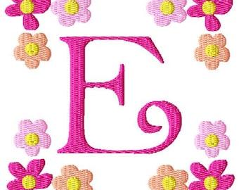Flower Frame Machine Embroidery Monogram Font Set
