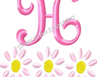 Daisy Machine Embroidery Monogram Font Set