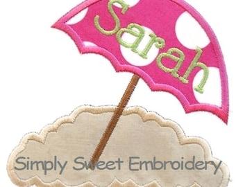 Umbrella Sand Machine Embroidery Applique Design