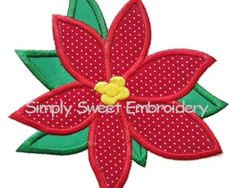 Poinsettia Machine Embroidery Applique Design