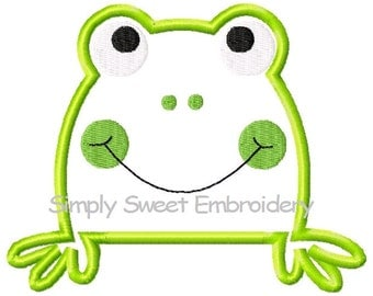 Frog Face Machine Embroidery Applique Design