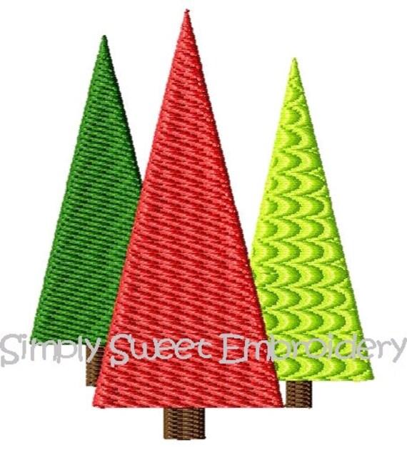 Three Christmas Trees Machine Embroidery Mini Design Set