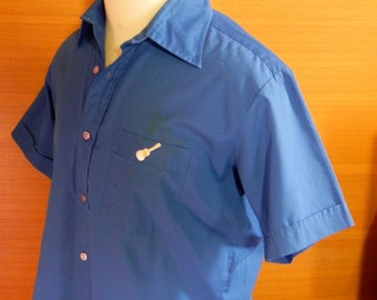 Vintage Shirt Mens 50s 60s Blue Rockabilly Shirt with Guitar Size  L - on sale