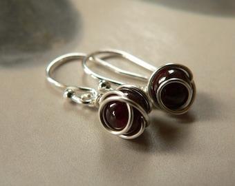Garnet silver earrings, dangle earrings, natural jewelry
