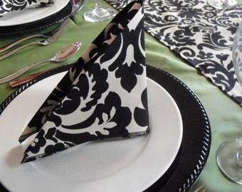 Black Napkins Wedding Table Centerpiece Black Damask Floral Fabric Cloth Napkin Set Linens Party Shower Decor