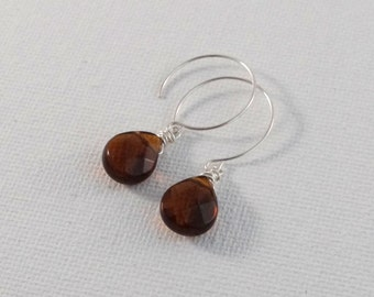 Smokey Quartz Earrings on Sterling Silver Ear Wires