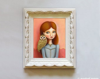Owl art and big eyed girls room decor - Imogene print on somerset velvet - woodland pop surrealism by Marisol Spoon