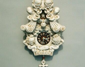 Cuckoo Clock wall clock art sculpture Buttermilk - Faethm Cuckoo by Marisol Spoon