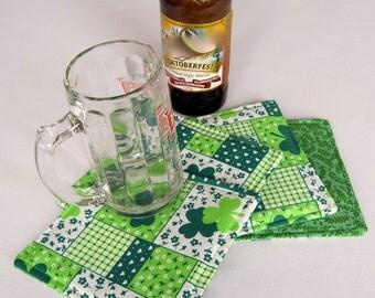 4 or 6 Shamrock Coasters Reversible Set of St Patricks Day Mug Rugs Clover Coasters Irish Coasters Green Coasters
