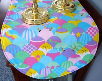 """Easter Table Runner 36"""" Reversible Decorated Colored Easter Eggs Table Runner Pink Green Easter Egg Table Runner Yellow Chicks Table Runner"""