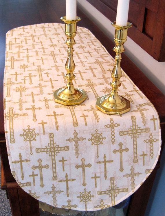 Religious Table Runner 36 Reversible Christian Cross For