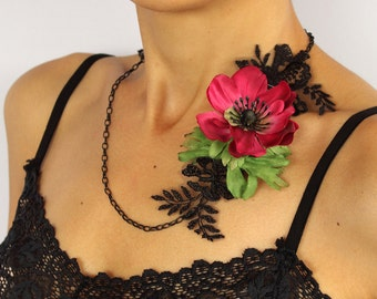 Floral Handmade Necklace, Silk Anemone Flowers, Christmas Gift, Black Lace, Handmade