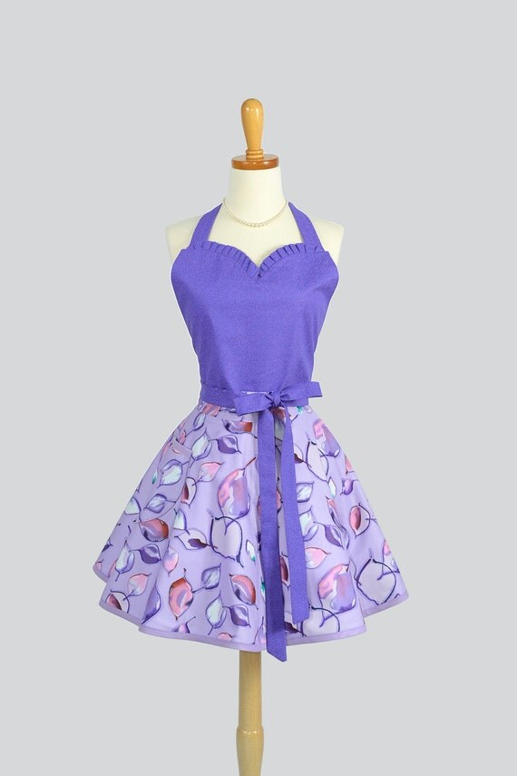 Sweetheart Retro Apron - Vintage Style Sexy Womans Apron in Flirty Purple Swirls in Lavender Cute Apron Retro Apron Personalize or Monogram