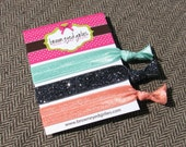 Elastic Hair Ties - Charcoal Glitter, Coral, and Aqua
