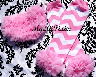 Pink Chevron Legwarmers With Ruffles and Chiffon Ruffle Bum Baby Bloomer Diaper Cover  SET- Photo Prop- My2lilPixies
