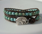 Green Magnesite Beaded Leather Wrap Bracelet with Elephant Button