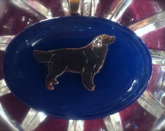 Retriever Fused Glass and Silver Pendant