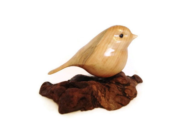 Carved bird chickadee wood carving art gift