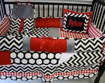 Chevron dot minky crib bedding - Free personalized pillow