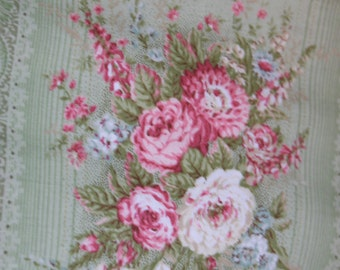 Mary Rose Jessica Fabric Collection by Quilt Gate MR213012 D Heirloom Roses on Green