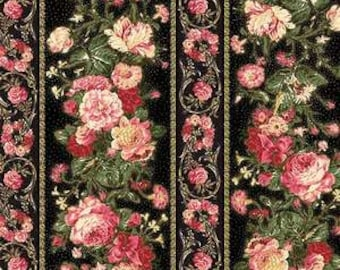 Rose Grace's Holiday Collection by Quilt Gate MR2160-12D Black Rose Stripe with Gold Metallic Accents