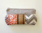 Jute pouch Zipper pouch Make up Bag Cosmetic bag Bridesmaid clutch Wedding clutch Linen clutch Gray Chevron and Coral