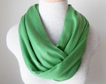 Grass Green Jersey Knit Infinity Scarf