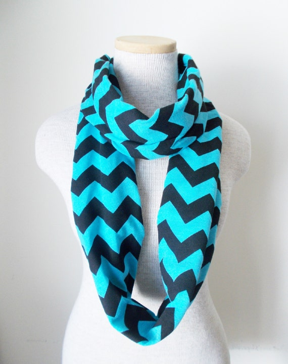 Chevron Scarf Pattern Knit : Chevron Infinity Scarf Jersey Knit Turquoise by MegansMenagerie