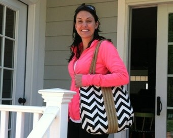 Hand Bag Purse Black and white chevron carry on hobo bag with burlap FASHION