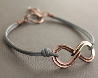 Unisex double infinity copper bracelet with gray leather and handmade hook clasp - Infinity bracelet - Unisex bracelet - BR008