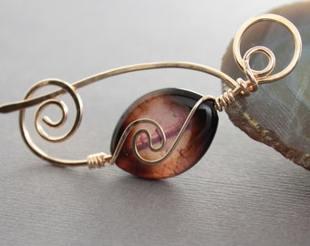 Shawl pin or scarf pin in gold tone bronze with wrapped lilac brown agate stone