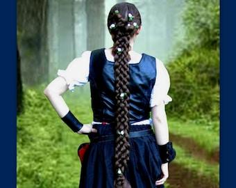 long Braid plait Hair extension historical Reenactment SCA Medieval renaissance costume wig braided plaited hair accessory custom wig garb