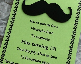 Mustache Bash Birthday Invitation