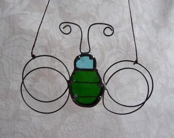 little bug vintage stained glass suncatcher
