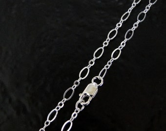 22 Inch Sterling Silver Long And Short Oval Chain Necklace With Lobster Clasp