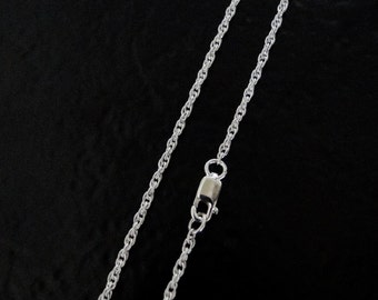 ANY LENGTH Sterling Silver 1.6mm Rope Chain Necklace, Made in USA/Italy