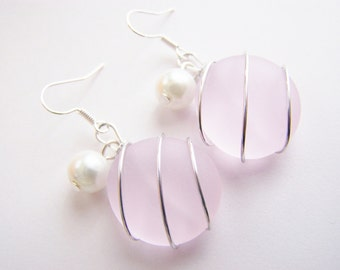 Seaglass Bridesmaids sets - Pink - Glass Pearl - Other Colors Available - Earrings available - Weddings - affordable - seaside