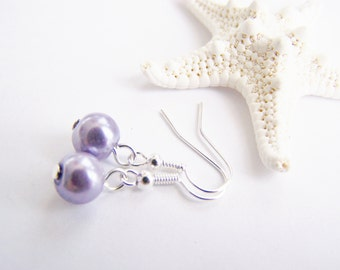 SALE - Purple Glass Pearl Earrings - Matching necklace also available - Petite - small - weddings - formal - bridesmaids