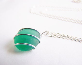 Sea Glass Bridesmaids sets - Emerald Green Necklace - Glass Pearl Option - Other Colors and Earrings Available - Weddings - seaside