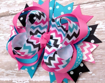 Chevron Hot Pink, Turquoise, Black OTT Loopie Bow - Great for all Occasions - Perfect Fit for All Ages