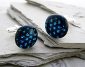 Unisex Glass Dichroic Cufflinks Blue Bubble Wrap on Black, Polka Dots, Black and Blue Glass Cuff links
