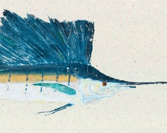 Atlantic Sailfish - Gyotaku Fish Rubbing - Limited Edition Print (37.5 x 14.5)