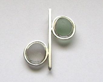 Sea Glass Jewelry - Sterling Aqua & White Sea Glass Pendant