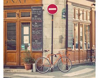 Paris Bicycle Cafe Photography Print, Vintage Style Paris Bicycle Photograph Decor, Paris Print, Travel Photo - Dimanche