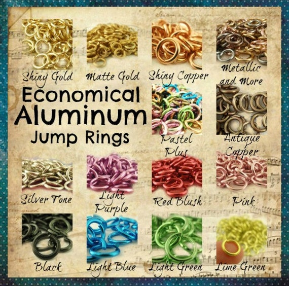 CLEARANCE SALE - 100 Aluminum Jump Rings 16 gauge 8mm OD Economical - Pastel Plus or Metallics and More