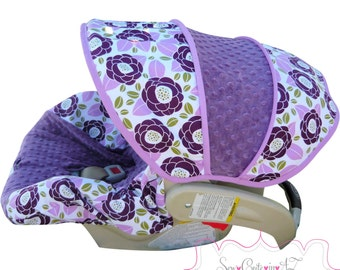 Infant Car Seat Cover Bloom in Lilac with Violet