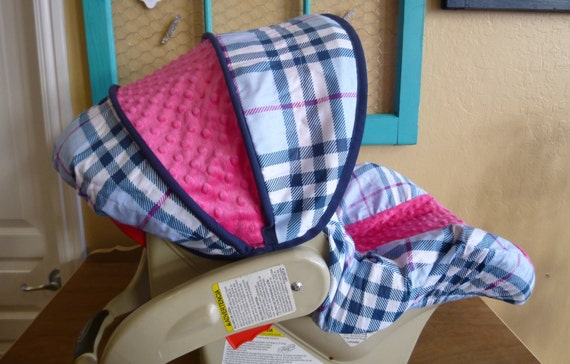 Ships Today Navy And Hot Pink Infant Car Seat Cover Burberry