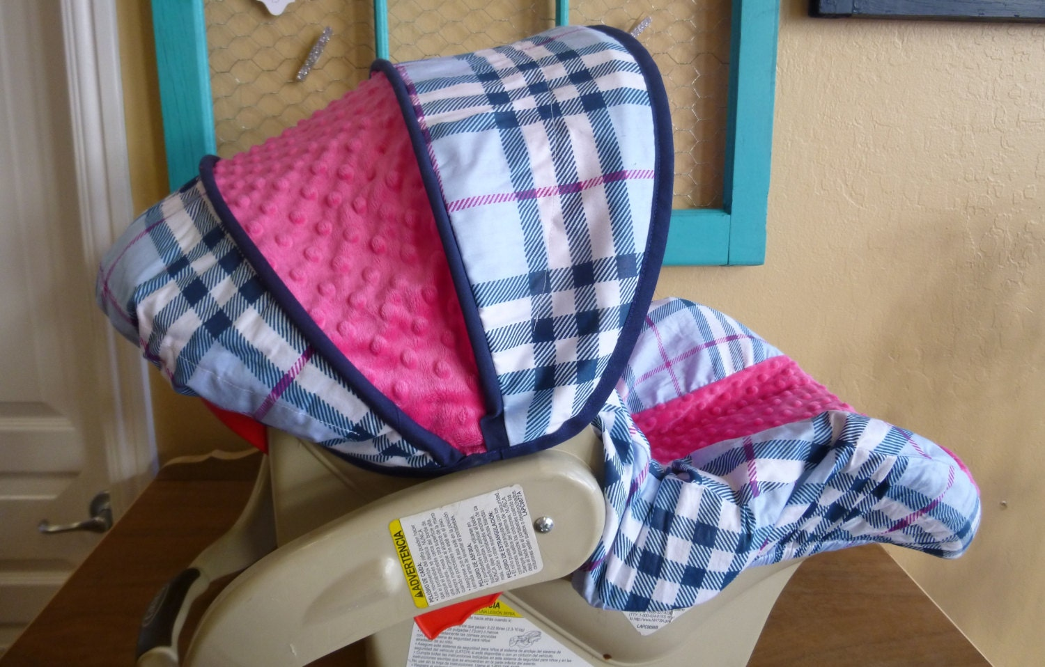 Ships Today Navy Hot Pink Infant Car Seat Cover Burberry