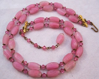 1940s Pink Art Glass Double Choker Necklace FREE SHIPPING