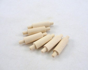 Miniature rolling pin, dollhouse rolling pin, set of 6 unfinished